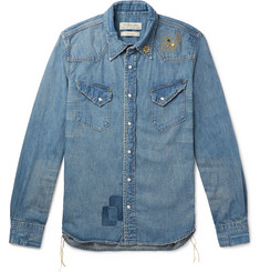 Remi Relief Slim-Fit Distressed Embellished Denim Shirt