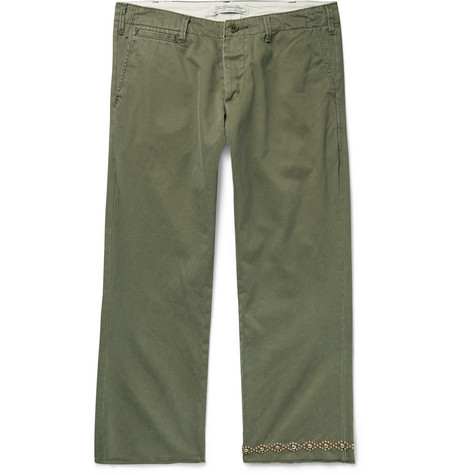 Remi Relief Studded Cropped Cotton-Twill Chinos