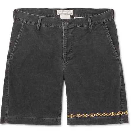 Remi Relief Slim-Fit Embellished Cotton-Blend Corduroy Shorts