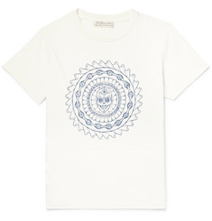 Remi Relief Distressed Embroidered Cotton-Jersey T-Shirt