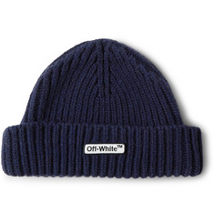 Off-White Logo-Appliquéd Ribbed Wool-Blend Beanie