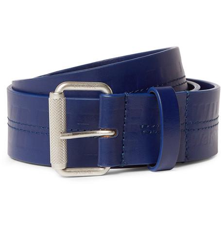 Off-White – 5cm Navy Logo-debossed Leather Belt – Navy