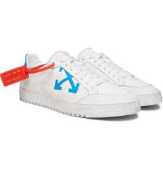 Off-White - Distressed Leather-Trimmed Canvas Sneakers