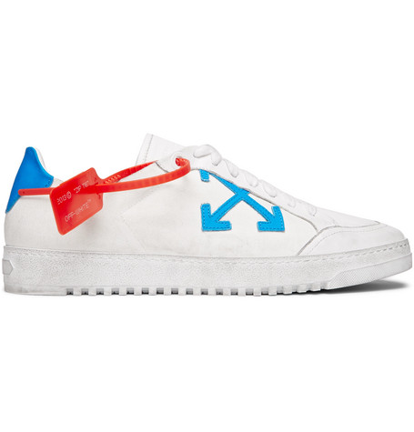 Distressed Leather Trimmed Canvas Sneakers by Off White