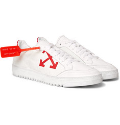 Off-White - 3.0 Polo Distressed Leather-Trimmed Twill Sneakers
