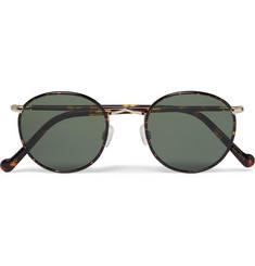 bbccc9c78b9 Moscot Zev Round-Frame Tortoiseshell and Gold-Tone Titanium Sunglasses.  Moscot