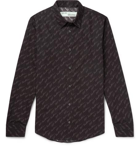 slim-fit-logo-print-cotton-poplin-shirt by off-white