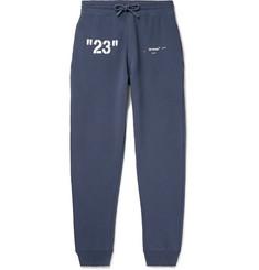 오프화이트 Off-White Slim-Fit Logo-Print Loopback Cotton-Jersey Sweatpants,Blue