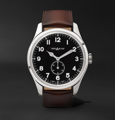 Montblanc 1858 Automatic 44mm Stainless Steel and Leather Watch, Ref. No. 115073