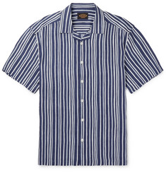 Tod's Camp-Collar Striped Linen Shirt