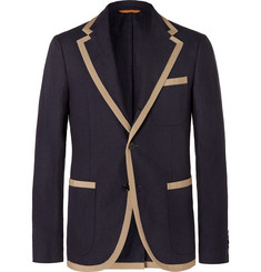 Tod's Navy Campus Slim-Fit Grosgrain-Trimmed Linen Blazer