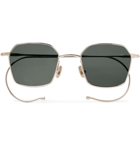 NATIVE SONS Chino Hexagon-Frame Gold-Tone Sunglasses in Black