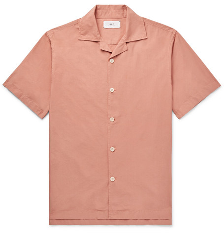 Camp Collar Garment Dyed Cotton Shirt by Mr P.