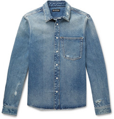 Balenciaga Slim-Fit Embroidered Distressed Denim Shirt