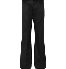 Balenciaga Black Wide-Leg Cotton-Twill Trousers