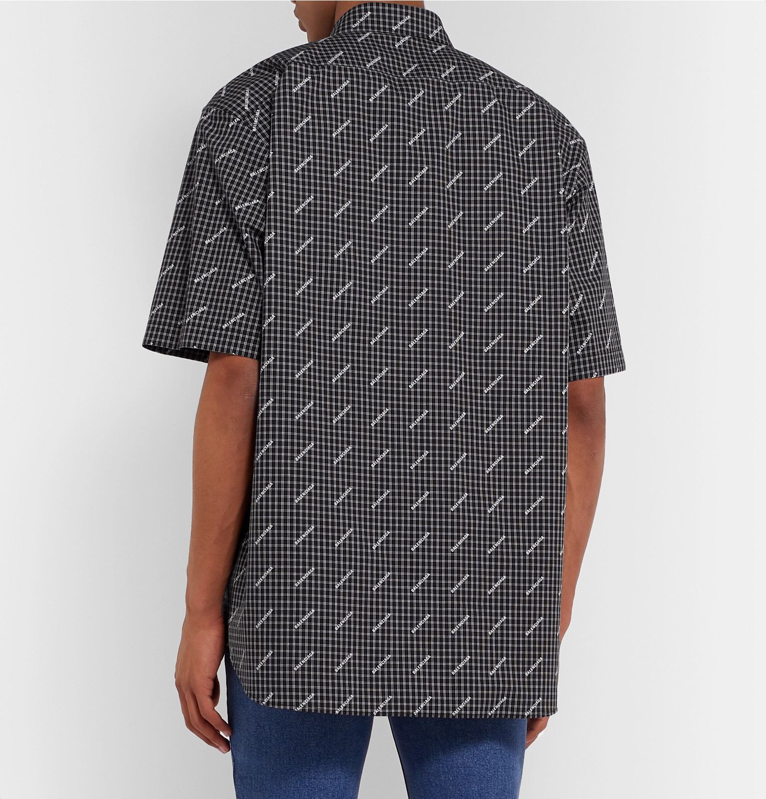 bd1ae2c0f6e3 Balenciaga - Logo-Print Checked Cotton-Poplin Shirt