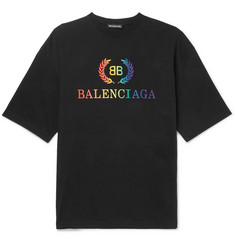 Balenciaga - Logo-Embroidered Cotton-Jersey T-Shirt