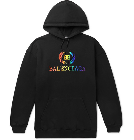 Oversized Logo Embroidered Loopback Cotton Jersey Hoodie by Balenciaga