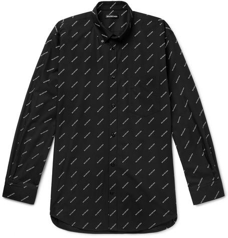 Button Down Collar Logo Print Cotton Shirt by Balenciaga