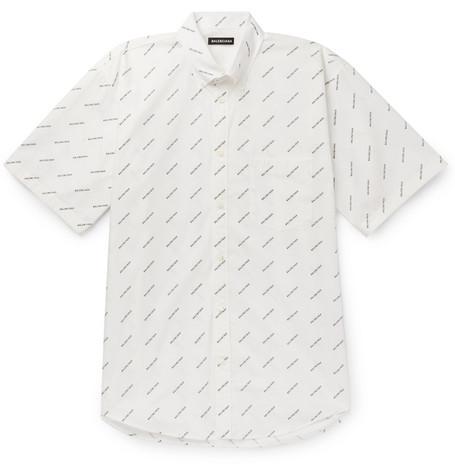 25c71952324d Balenciaga - Button-Down Collar Logo-Print Cotton-Poplin Shirt