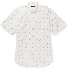 Balenciaga - Button-Down Collar Logo-Print Cotton-Poplin Shirt