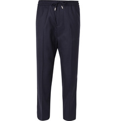 Mr P. - Slim-Fit Midnight-Blue Worsted-Wool Drawstring Trousers