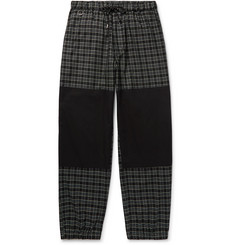 Flagstuff Tapered Poplin-Panelled Checked Cotton-Twill Drawstring Trousers