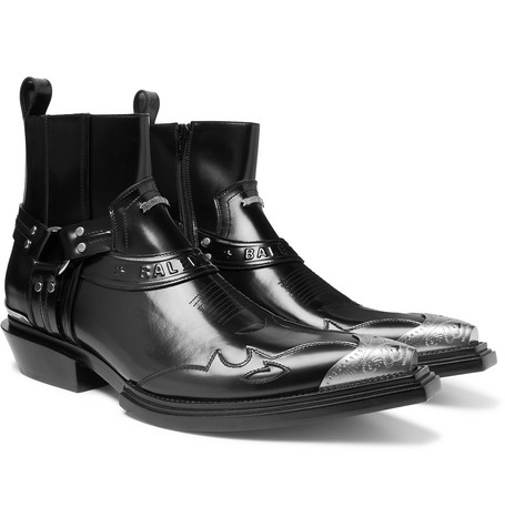BALENCIAGA | Balenciaga - Santiag Metal-Tipped Leather Boots - Black | Goxip