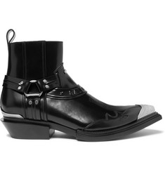 Balenciaga Santiag Metal-Tipped Leather Boots