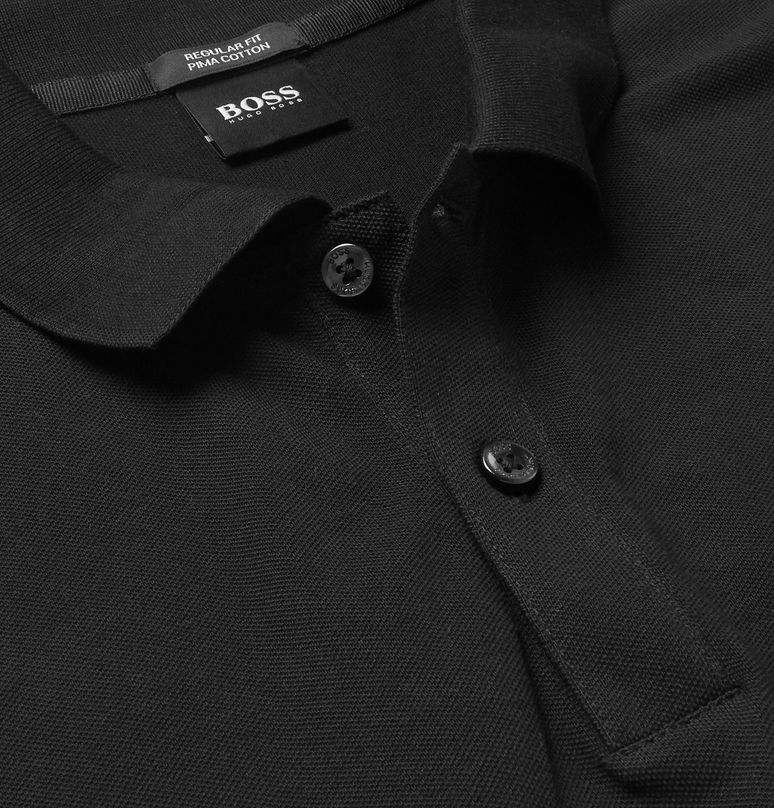 3732661e5979 Contemporary & Designer Hugo Boss Pallas Regular Fit Pima Cotton White Polo  Hugo Boss Black