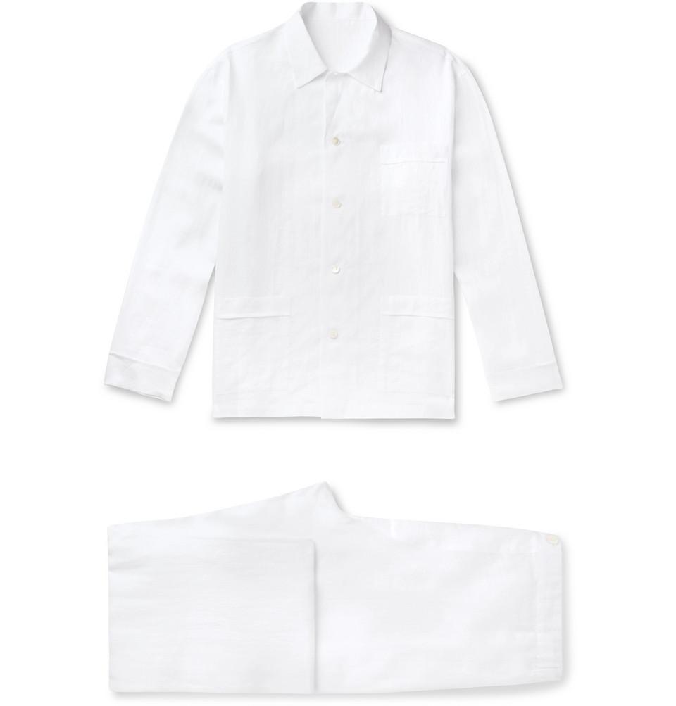 Linen Pyjama Set - White