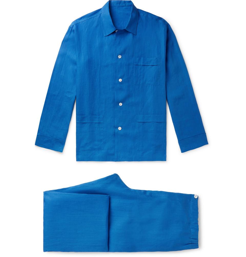 Linen Pyjama Set - Blue