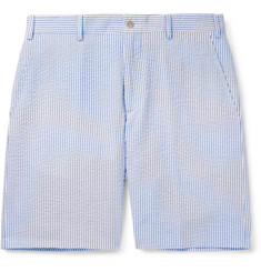 Anderson & Sheppard Striped Cotton-Seersucker Shorts
