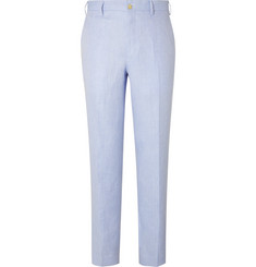 Anderson & Sheppard Sky-Blue Slim-Fit Herringbone Linen Trousers