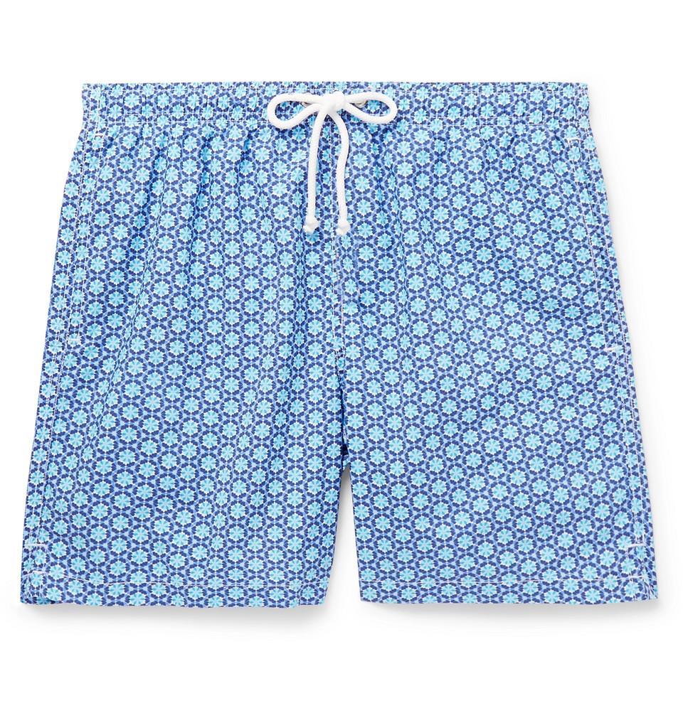 Slim-fit Mid-length Printed Swim Shorts - Blue