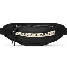 A.P.C. Lucille Leather-Trimmed Logo-Print Nylon Belt Bag