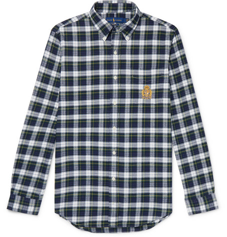 Button Down Collar Checked Cotton Twill Shirt by Polo Ralph Lauren