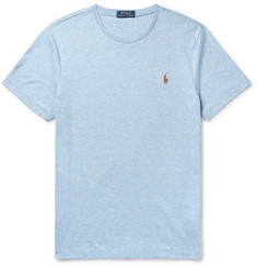 Polo Ralph Lauren Slim-Fit Logo-Embroidered Mélange Pima Cotton-Jersey T-Shirt