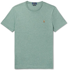 Polo Ralph Lauren - Slim-Fit Logo-Embroidered Mélange Cotton-Jersey T-Shirt