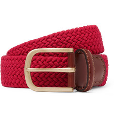 3.5cm Red Leather-trimmed Woven Stretch-cotton Belt - Red