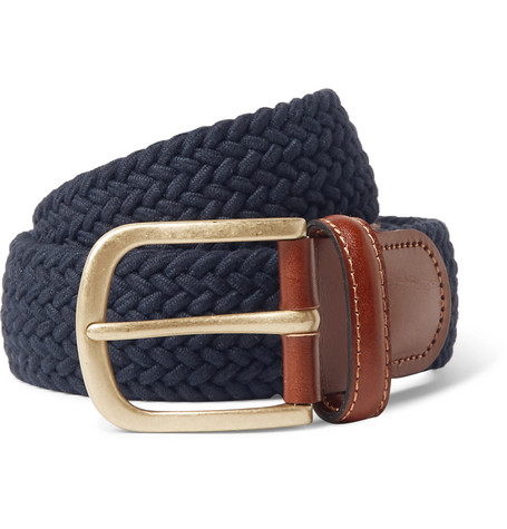 3.5cm Midnight Blue Leather Trimmed Woven Stretch Cotton Belt by Anderson & Sheppard
