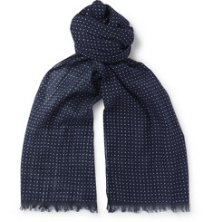 Polka-dot Cotton Scarf - Navy