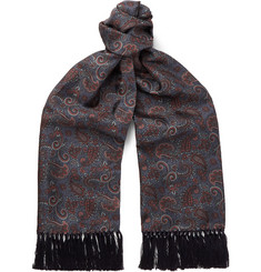 Sulka - Fringed Paisley-Print Mulberry Silk-Twill Scarf