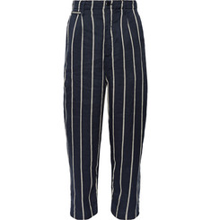KAPITAL Striped Linen and Cotton-Blend Trousers