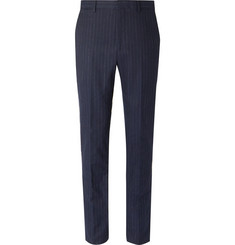 Polo Ralph Lauren - Navy Slim-Fit Pinstriped Stretch Cotton and Wool-Blend Suit Trousers