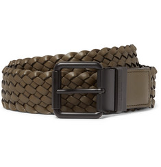 Bottega Veneta 4cm Army-Green Intrecciato Leather Belt