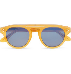 Cutler and Gross Round-Frame Acetate and Silver-Tone Mirrored Sunglasses