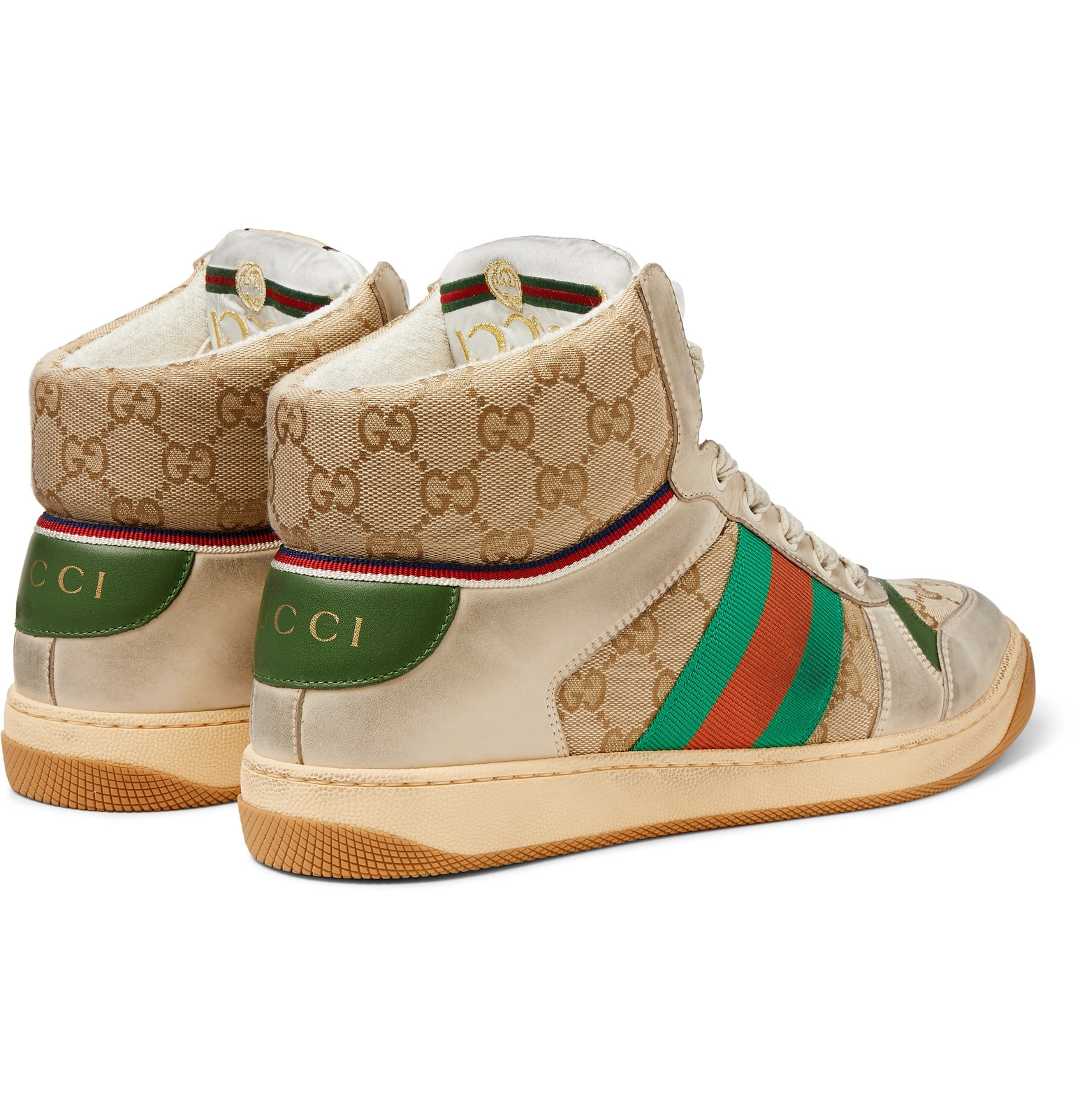 c8ee4fac5 GucciScreener Webbing-Trimmed Distressed Leather and Monogrammed Canvas High -Top Sneakers