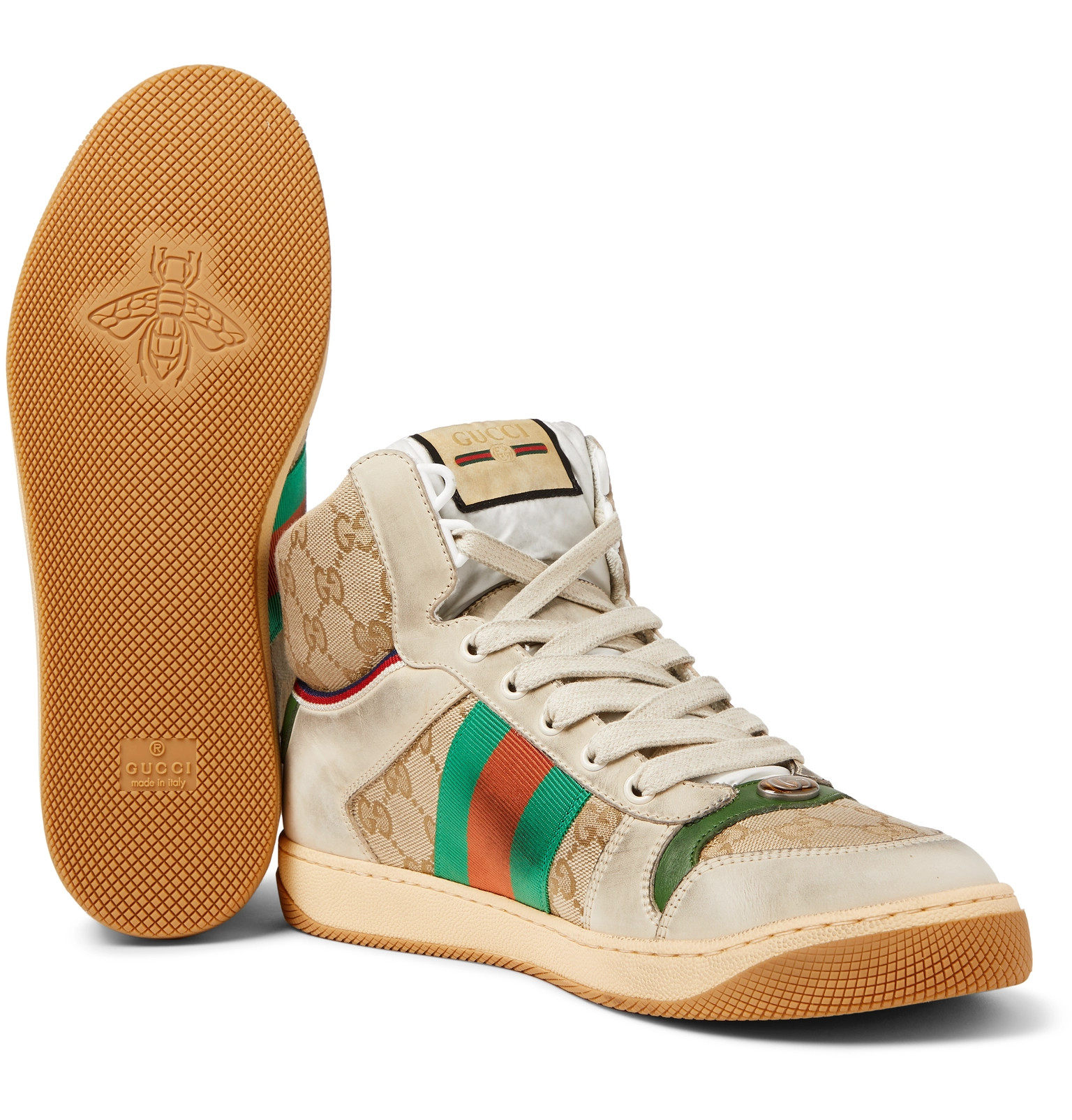 9148d40a1 GucciScreener Webbing-Trimmed Distressed Leather and Monogrammed Canvas High -Top Sneakers