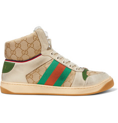 Gucci Screener Webbing-Trimmed Distressed Leather and Monogrammed Canvas High-Top Sneakers